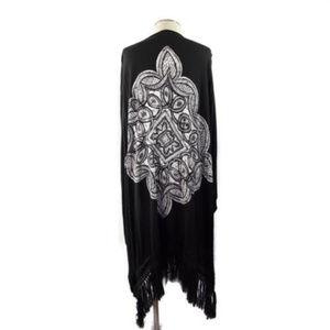 CELTIC FRINGE PONCHO || Charcoal Black Shawl OS